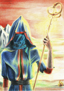blind wanderer hivesotto slovvianka sun colored pencils traditional art fantasy mage landscape krajobraz fantastyka ołówek ołówki kredki
