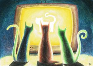 cat cats kot koty bajka cartoon coloured pencils kredki rysunek drawing colorful kolorowy telewizor TV