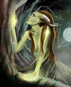 duch lasu paulina śliwa forest ghost fantasy fantastyka sci-fi tree drzewo las puszcza magia magic horns rogi demonic woman elf demoniczna kobieta elfka nimfa nereida